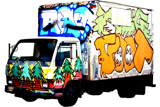 Graffiti Truck - Mitsubishi with Trees by Brett Howard Sproul. Giclee print of graffiti-covered Mitsubishi truck, an original photo taken in San Francisco, California.