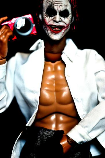 Joker (red hair, self-portrait), by Brett Howard Sproul. Giclee print of a self-portrait of Joker, an action-figure toy of a Dark Night Batman Villain (Heath Leger). Based on original photo by Brett Howard Sproul.