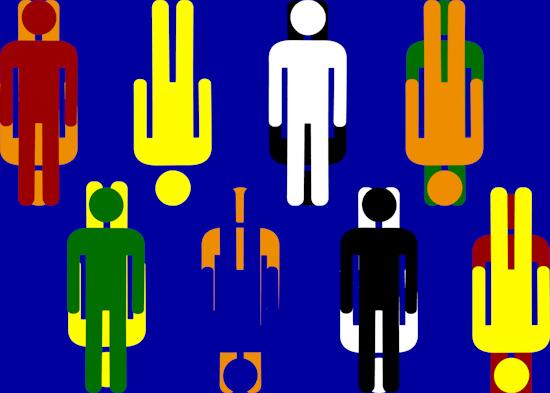 Bathroom Men (horiz up down blue)