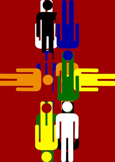 Bathroom Men (vert middle red) by Brett Howard Sproul.