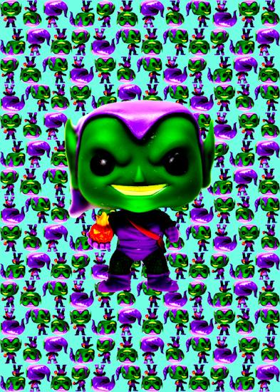 Green Goblin (Pop bobble-head aqua) by Brett Howard Sproul.