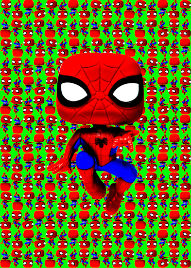 Spider-Man (Pop bobble-head green vibrant) by Brett Howard Sproul.
