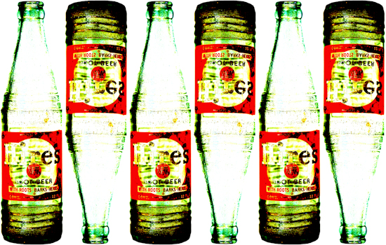 Hires Root Beer Bottles - Knobby by Brett Howard Sproul. Giclee print of knobby Hires Root Beer soda glass bottles, antique collectible.