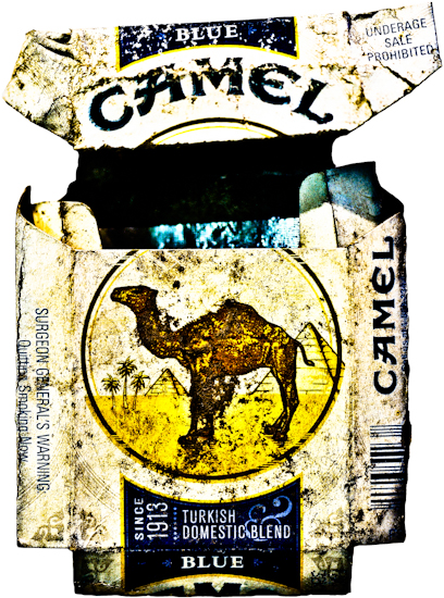 Camel Cigarette Pack (blue) by Brett Howard Sproul. Giclee print of a Camel cigarette pack, an original photo taken by Brett Howard Sproul.