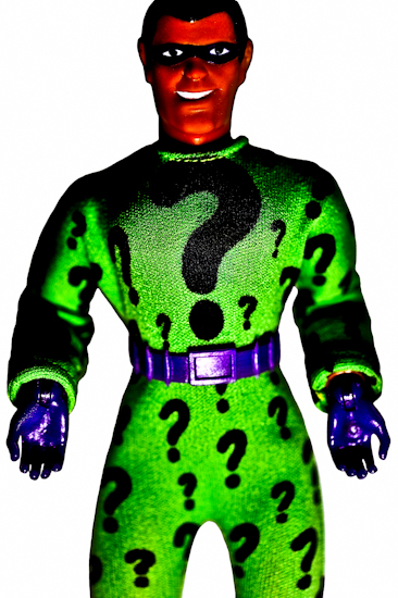 Riddler, by Brett Howard Sproul. Giclee print of Riddler, an action-figure toy of a Batman Villain from the 1970's DC Comics superhero. Based on original photo by Brett Howard Sproul.