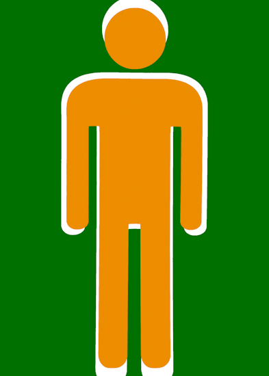 Bathroom Man (orange green) by Brett Howard Sproul.