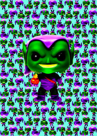 Green Goblin (Pop bobble-head aqua) by Brett Howard Sproul.