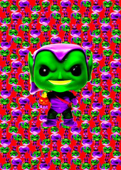 Green Goblin (Pop bobble-head red vibrant) by Brett Howard Sproul