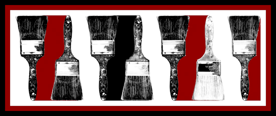 Paint Brushes (horizontal bw red) by Brett Howard Sproul